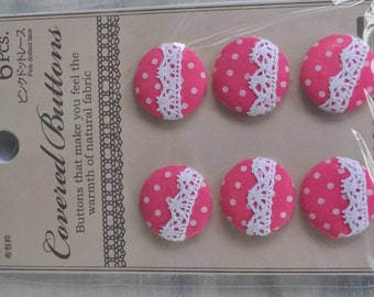6 pcs Pink dotted lace covered buttons