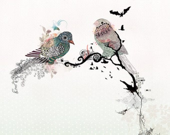 Love birds art, watercolor art, Bird illustration, Love birds painting, 11x14 print