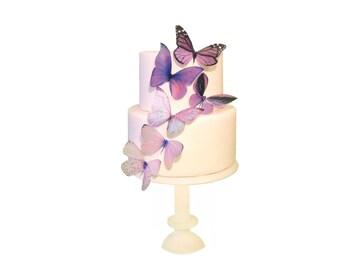 WEDDING CAKE Topper - 6 Purple Ombre Edible Butterflies - DIY Wedding Cake Topper, Cupcake