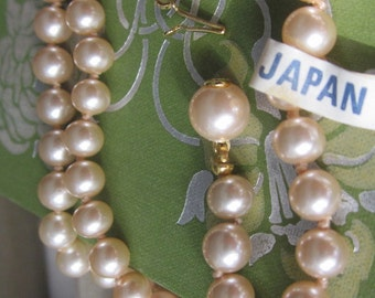 Vintage Japanese Knotted Glass Pearls