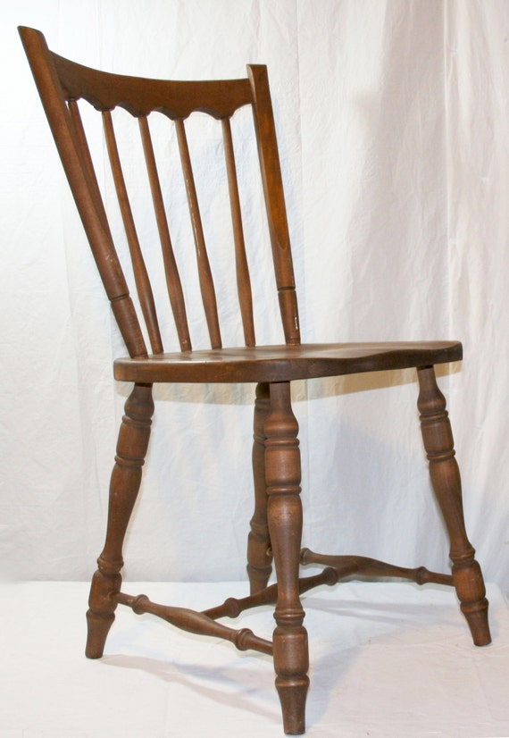 early american primitive windsor style spindle back ash oak side chair