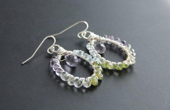 Gemstone Earrings Wire Wrapped,  Sterling Silver Amethyst,  Spring Jewelry