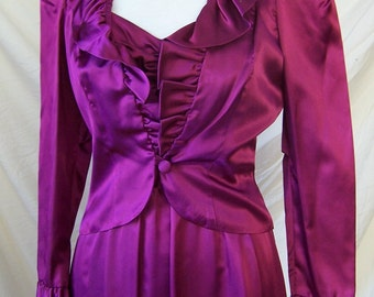 NWT vintage 70's magenta satin prom bridesmaid long dress gown with jacket S