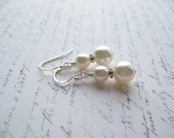 White Swarovski Earrings, Swarovski Pearl Earrings, Made In Sweden, Swedish Jewelry Design,Swedish  Wedding Earrings