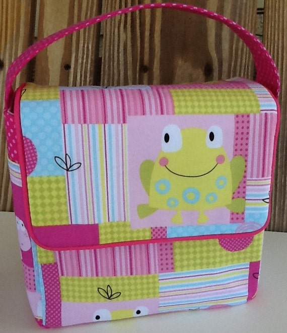 Lunch Bag, Toddler Lunch Bag, School Lunch Bag, Eco Friendly, Girls Lunch Bag, Easter, Pink, Turtle, Frog
