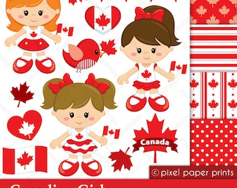 Canadian Girls - Canada day - Digital paper and clipart set