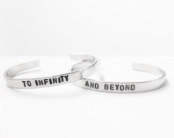 Friendship bracelet, best friend jewelry,  to infinity and beyond - hand stamped jewelry - friendship bracelet, handmade
