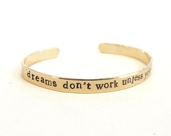 Motivational quote bracelet, jewelry - dreams don't work unless you do - inspirational jewelry quote - graduation gift, handmade jewelry