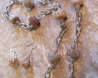 Botswana Agate Necklace and Earring Set Natural Stone Jewelry Pewter Chain
