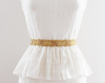 ALICE GOLD - Beaded Bridal Sash in Gold, Wedding Belt