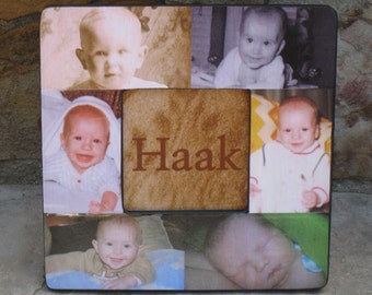 """Personalized Mother's Day Picture Frame, Baby's First Year Frame, Unique Baby Collage Frame, New Baby Gift, Christmas Gift, 8"""" x 8"""" Frame"""