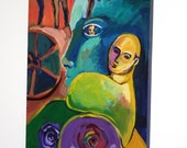 """Expressionist Painting on Canvas, 30"""" x 15"""" Original Art, Faces and Horses, """"Totem"""""""