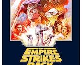 The Empire Strikes Back - Luke Skywalker - Darth Vader - Boba Fett -13x19  Classic Sci Fi  Movie Poster Art - Starwars Han Solo R2D2 C3PO