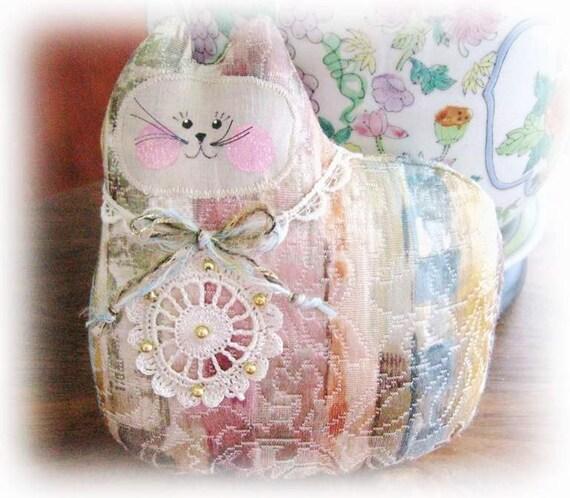 Cat Pillow Doll, Cloth Doll 7 inch Stripes Decorator Fabric, Primitive Soft Sculpture Handmade CharlotteStyle Decorative Folk Art
