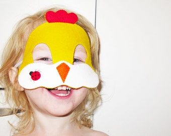 Chicken Felt Mask for kids - Yellow - Childrens easter animal costume - for boys girls  - soft Dress Up play accessory - Theatre roleplay