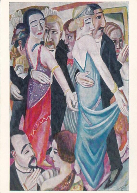 Vintage German Postcard size Print - Max Beckmann (Dance in Baden-Baden) - 1967