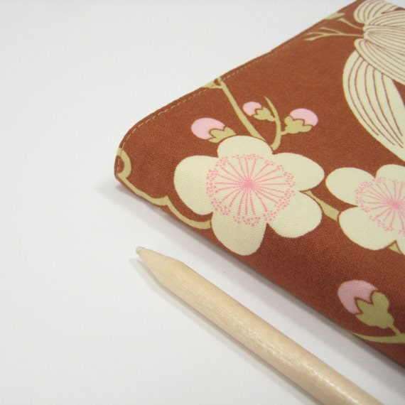 A5 2014 diary with one page per day, pretty rust brown pink cherry blossom, hardcover, Gift idea for wife girlfriend sister mother