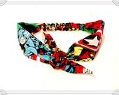 Headband made with Avengers Fabric, Made with Marvel Hulk Iron Man Thor Fabric Tie Headband Head Wrap Pin Up Rockabilly Hairband