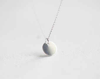 Sterling Silver Dot Necklace - tiny sterling silver disc drop, wear daily with any outfit, great for layering
