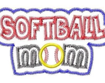 Softball Mom - Double Applique - Zig Zag Outline - Machine Embroidery Design