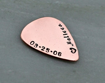 Hand Stamped Guitar Pick - Copper Guitar Pick - Personalized Guitar Pick - Engraved Guitar Pick - Valentines Day Gift for Boyfriend