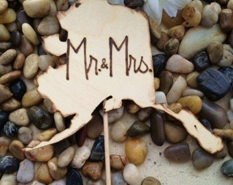 Mr. & Mrs. STATE Cake Topper for Weddings YOUR State Shape Engraved with Mr. Mrs. Proud of your Hometown Wedding Engagement Photo Prop