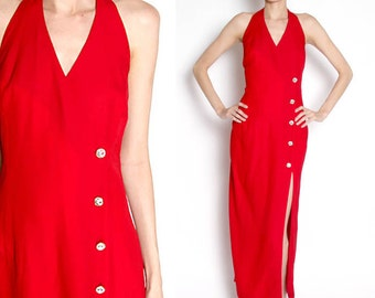 Vintage 90s Red High Slit Evening Gown / Formal Dress / Haulter Top / Prom Dress / Medium
