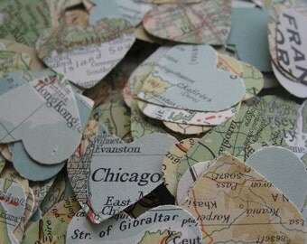 2000 Vintage Map Confetti. Teal, Ivory, Ochre, Beige, Green. World Map. Or CHOOSE YOUR MAP. Heart Shaped. Custom Orders Welcome.