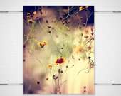 "Flower Photography / dreamy flowers butter yellow purple / garden meadow nature / 8x10 photograph print / ""Blossom Whispers"""