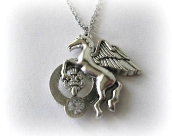 Pegasus necklace flying horse jewelry long chain necklace antiqued silver