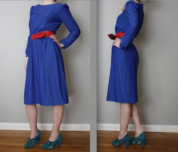 Vintage Ultramarine and Rainbow Striped Day Dress
