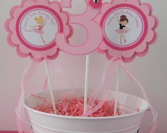 3 Ballerina Birthday Party Centerpiece Sticks