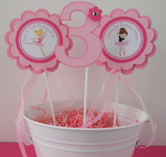 3 ballerina birthday party centerpiece sticks for Ballerina party decoration