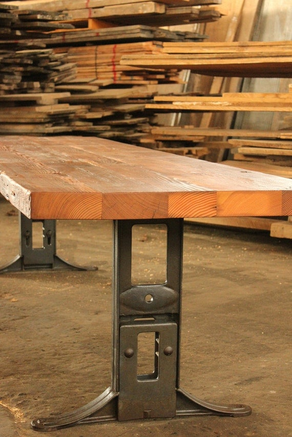 reclaimed wood industrial conference dining table with cast iron