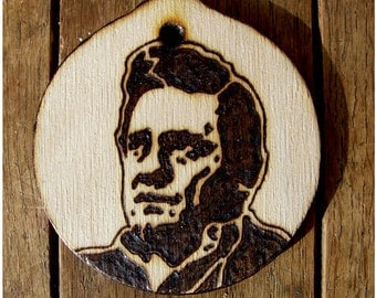 Johnny Cash Christmas Ornament - Wooden