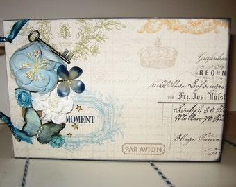 This Moment Premade Chipboard Album in Soft Blue, Cream and Buttercup 6x9 inches