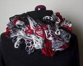 Flounce Ruffle Scarf - Black, Gray, Red and white - Ready to Ship