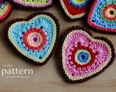 Crochet Pattern - Sweet Crochet Heart Ornaments/Appliques (Pattern No. 025) - INSTANT DIGITAL DOWNLOAD