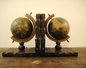 Vintage Globe Bookends, Book Ends with Mounted Globe, World, Seventies.