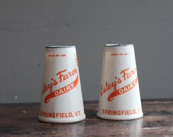 Vintage Milk Bottle Waxed Paper Container, Cone