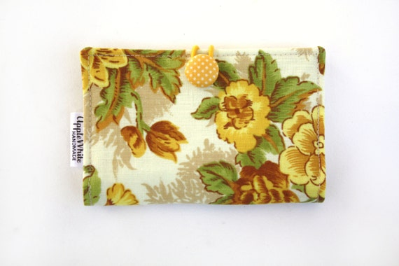 Yellow and Green Floral Card Holder, Spring, Wallet, Business Card Holder, Credit Card Case, Gift Card Holder