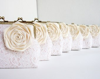 Cream Wedding / 8 * Lace Bridesmaid Clutches with Silk Roses - You Choose The Color Flower and Lining