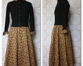 Vintage 1950's Koret Of California Black and Gold Lace Overlay Skirt and Sweater Set XXS