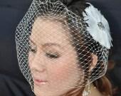 "Bandeau 902 -- VEIL SET w/ RHINESTONE Feather Hair Fascinator Clip & Ivory or White 9"" Birdcage Blusher Veil for bridal wedding accessories"