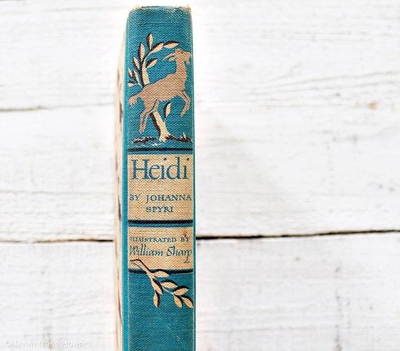 Vintage Children's Book Heidi Illustrated Classic Tale
