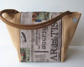 vegan purse, newspaper print handbag, camel shoulder bag , shoulder handles, over the arm handles, chic vegan bag,