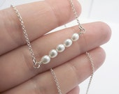 Pearl Bar Necklace, Horizontal  Bar, Chain, Sterling Silver -  Mother gift, Anniversary, Wedding, Bridesmaid Gift, Delicate Fine Jewelry