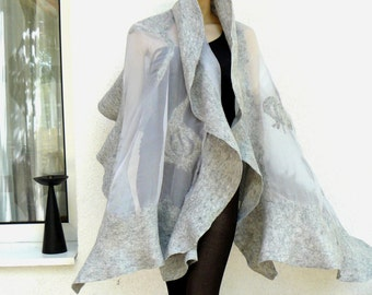 Nuno felted shawl - large scarf - wool and silk - holiday shawl