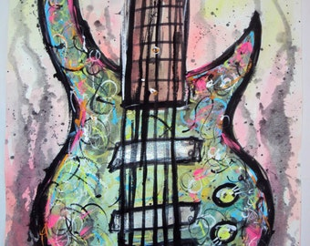 Six String Green Bass Guitar Watercolor and Acrylic Painting
