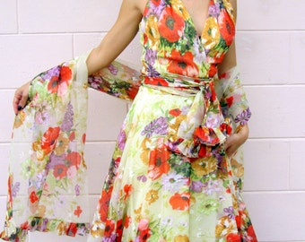 1970s Empire Gown with Wrap-Flower Power-Halter-Wedding or Formal-Medium